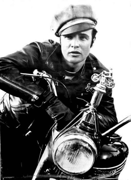 marlon brando in the wild one on motorcycle